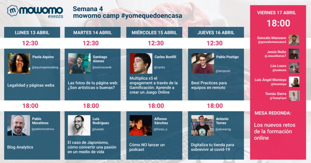 Semana 4 del mowomo camp #yomequedoencasa