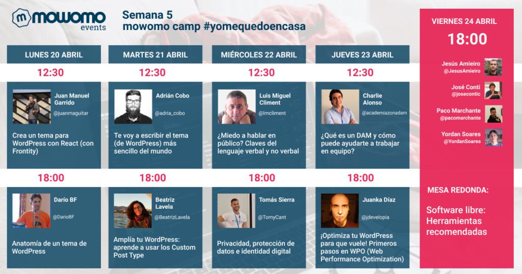 Semana 5 del #mowomocamp #yomequedoencasa